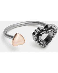 COACH - Scallop Heart Open Ring - Lyst
