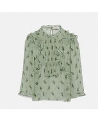 COACH - Scribble Floral Print Ruffle Top - Lyst