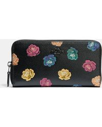 COACH - Accordion Zip Wallet With Rainbow Rose Print - Lyst