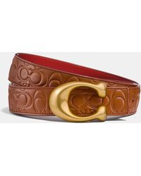 COACH - Sculpted Signature Reversible Belt In Signature Leather - Lyst