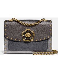 COACH - Parker 18 In Signature Canvas With Rivets And Snakeskin Detail - Lyst