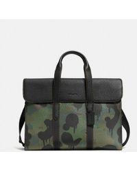 COACH - Metropolitan Portfolio In Pebble Leather With Wild Beast - Lyst