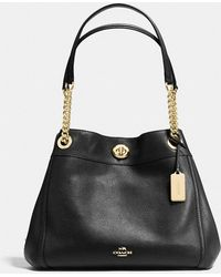 COACH - Edie Shoulder Bag In Polished Pebble Leather - Lyst
