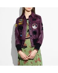 COACH - Leather Jacket With Patches - Lyst