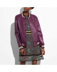 COACH - Leather Varsity Jacket - Lyst