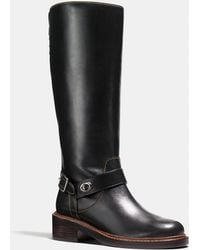 be8a3e38c1f19 Lyst - COACH Leather Lace-up Ankle Boots in Black