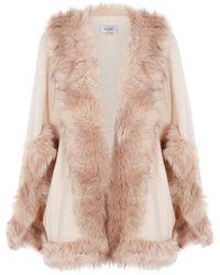 Coast - Amber Knit Faux Fur Cape - Lyst