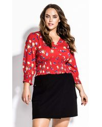 City Chic Summer Bud Top - Red