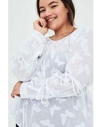205afffee96814 Elvi - Hilde Full Sleeve Blouse In Self Jacquard With Antoinette Sleeves -  Lyst