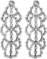 Kenneth Jay Lane - Silver Crystal Lace Drop Clip Earrings - Lyst