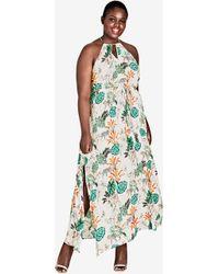 City Chic - Jungle Study Drawstring Maxi Dress - Lyst