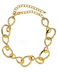 Kenneth Jay Lane - Satin Gold Link Necklace - Lyst
