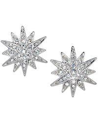 Kenneth Jay Lane - Silver Crystal Starburst Clip Earring - Lyst
