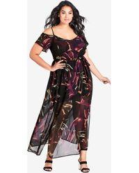 City Chic - Wild Jungle Maxi Dress Black - Lyst