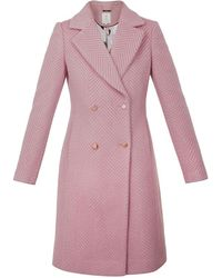 Ted Baker Saffra Chevron Wool Midi Coat - Pink