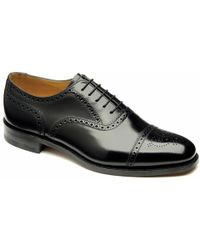 Loake 201b Semi-brogue Shoes - Black