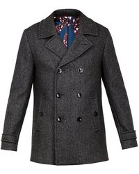 Ted Baker Grild Double Breasted Peacoat - Gray