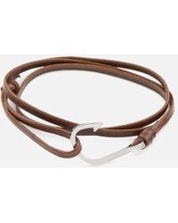 Miansai - Men's Leather Silver Hook Bracelet - Lyst