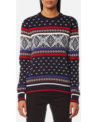 MSGM - Crew Neck Knitted Jumper With Print - Lyst