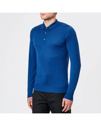 John Smedley - Belper 30 Gauge Merino Long Sleeve Polo Shirt - Lyst