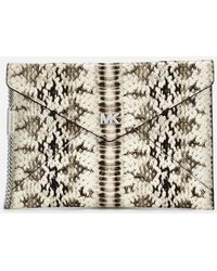 MICHAEL Michael Kors - Women's Snakeskin Envelope Clutch Bag - Lyst