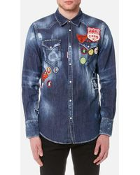 DSquared² - Men's Scout Badges Denim Western Shirt - Lyst