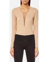 T By Alexander Wang - Stretch Faux Suede Lace Up Bodysuit - Lyst