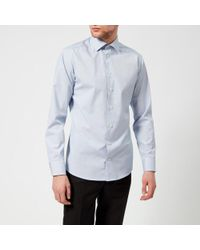 Eton of Sweden   Men's Slim Fit Micro Check With Palm Print Trim Shirt   Lyst