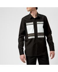 Neil Barrett - Men's Cube And Tape Chest Logo Long Sleeve Shirt - Lyst