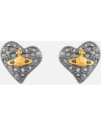 Vivienne Westwood - Jewellery Women's Tiny Diamante Heart Stud Earrings - Lyst