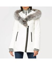 Mackage - Women's Fur Trim Hooded Jacket Off White - Lyst