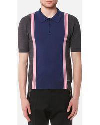DSquared² - 3 Button Striped Knitted Polo Shirt - Lyst
