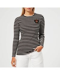 5953b5ba4e0c Polo Ralph Lauren Velvet-crest Fleece Sweatshirt in Black - Lyst