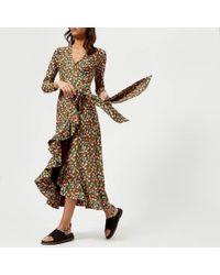 Ganni - Women's Alameda Wrap Dress - Lyst
