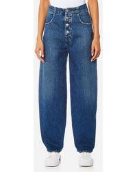 MM6 by Maison Martin Margiela - Women's Denim Wide Leg Jeans - Lyst