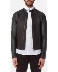 Versace - Perforated Leather Jacket - Lyst