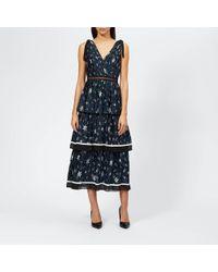 Self-Portrait - Tiered Star Satin Printed Midi Dress - Lyst