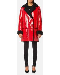 Christopher Kane - Hip Length Patent & Shearling Coat - Lyst