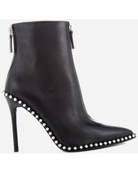Alexander Wang - Women's Eri Leather Studded Heeled Ankle Boots - Lyst