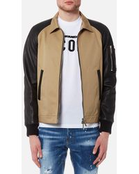 DSquared² - 50's Bomber Jacket With Raglan Leather Sleeves - Lyst