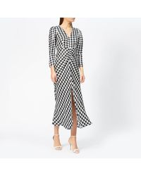 RIXO London Ziggy Houndstooth Dress - Black