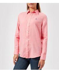 Polo Ralph Lauren - Women's Logo Linen Shirt - Lyst