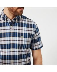 Lacoste - Men's Short Sleeved Checked Shirt - Lyst