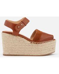 Castaner - Women's Enea Leather Wedged Sandals - Lyst