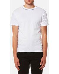 Officine Generale - Officine Générale Men's Piping Neck Pigment Dye Tshirt - Lyst