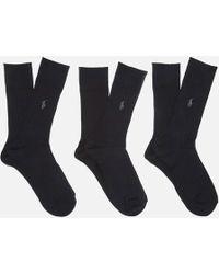 Polo Ralph Lauren - Men's Egyptian Cotton Ribbed Socks (3 Pack) - Lyst