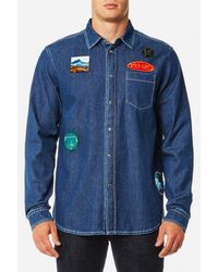 KENZO - Men's Denim Shirt With Badges - Lyst