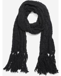 Cole Haan - Chunky Cable Muffler With Fringe - Lyst