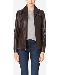 Cole Haan - Italian Leather Wing Collar Jacket - Lyst