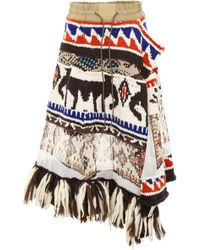 Sacai - Aztec Skirt With Fringes - Lyst
